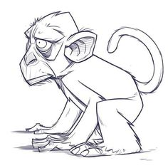 Easy way to draw monkey easy monkey to draw full size of to draw a cartoon . easy way to draw monkey Character Illustration, Illustration Art, Illustrations, Cartoon Sketches, Drawing Sketches, Character Design References, Character Art, Monkey Art, Disney Drawings