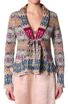 Odd Molly, #654 canna cardigan multi: The darling bestseller canna cardigan is here again in new beautiful patterns and colors. This time with fairisle ties in front. 56% lambswool 30% cotton 14% nylon PLEASE NOTE, THE TIES IN FRONT ARE PINK.