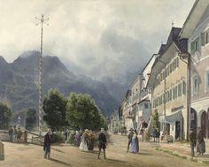 Rudolf von Alt, Die Esplanade in Ischl, 1840, Aquarell,   © Albertina, Wien