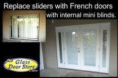 exterior french doors are usually back patio doors leading to the lanai miniblinds between the - Sliding Door Replacement