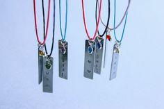 Children's Vertical Stamped Bar Necklace 14 Rope by SeamaidMarket
