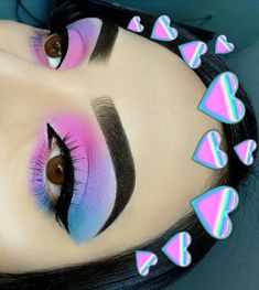 Makeup Eye Looks, Beautiful Eye Makeup, Eye Makeup Art, Crazy Makeup, Cute Makeup, Eyeshadow Makeup, Smokey Eyeshadow, Eyeshadow Palette, Pink Eyeshadow