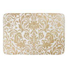 Gold Swirls Damask Bath Mat