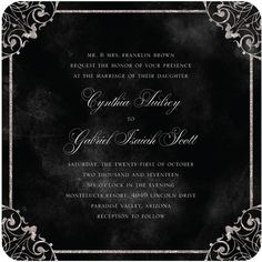 Elegant Vows - Signature White Wedding Invitations - Jenny Romanski - Black : Front