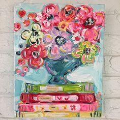 """Book Club and Blossoms"" 11""x14"" — Tricia Robinson Art"