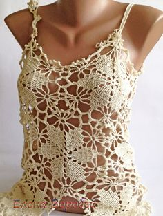 Sexy lace top/ Crochet Top/ Boho Chick Cream by ElenaVorobey