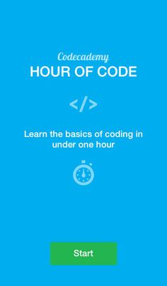 Codecademy: Hour of Code. Learn how to build amazing things online by programming with Codecademy - all for free. Our app gets you started by introducing you to the basic concepts behind the apps on your phone and the websites you visit. You'll learn to understand the basic structure of code when you see it.