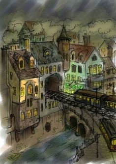 Noir Steampunk City Sketch