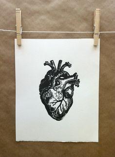 Anatomical heart hand pulled linocut block by RustyAppleStudio