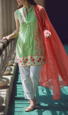 Buy Green Embroidered Cotton Lawn Dress by Alkaram 2016 Contact: 702-7513523 Email: info@pakrobe.com Skype: PakRobe