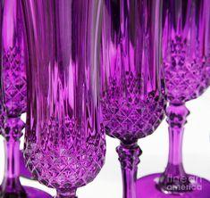Purple crystal glasses | Purple Stemware Photograph - Purple Stemware Fine Art Print