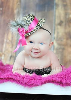 Hot Pink and Leopard Baby Toddler Girl Mini Top Hat: Baby Headbands & Hair Bows at Princess Bowtique