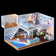 DIY Miniaturen Puppenhaus Holzmodellbau LED Puzzle Spielzeug Kinder Kreatives Geschenk - Baby toys by age - Doll House Dollhouse Kits, Wooden Dollhouse, Dollhouse Furniture, Dollhouse Miniatures, Modern Loft Apartment, Loft Apartment Decorating, Apartment Layout, Apartment Living, Apartment Ideas