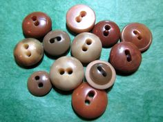 """12  1/2""""+  BROWN TONES VEGETABLE IVORY 2-HOLE CRAFT BUTTONS - ASSORTED Lot#L351"""
