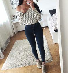 Roupas femininas, calças femininas, jeans e tênis, looks com calça jeans, looks Mode Outfits, Trendy Outfits, Teen Fashion, Fashion Outfits, Womens Fashion, Fasion, Spring Outfits, Winter Outfits, Outfit Goals