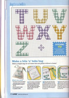 Cross-stitch Alphabet Gingham print, part 3...   color chart on part 2   Gallery.ru / Фото #12 - Cross Stitch Crazy 025 октябрь 2001 - tymannost