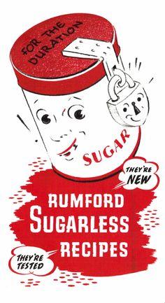 : Rumford Sugarless Recipes, WWII Ration Recipe Sheet a few old recipes. Retro Recipes, Old Recipes, Vintage Recipes, Cookbook Recipes, Cake Recipes, Cooking Recipes, Vintage Advertisements, Vintage Ads, Vintage Food