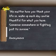 """""""No matter how you think your life is, wake up each day and be thankful for what you have. Someone somewhere is fighting just to survive."""" Anonymous #qotd #qod"""