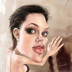 Caricaturas by Daniel Alho / Angeline Jolie  ...I guess,the artist isn't her biggest fan ;-)  Love these pictures!