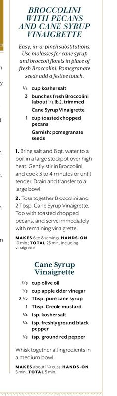 Broccolini with Pecans and Cane Syrup Vinaigrette Page 2 of 2