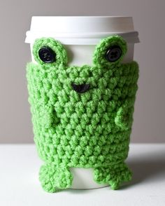 Crocheted Cuddly Frog Coffee Cup Cozy