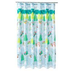 St. Nicholas Square Snowman Scenic Fabric Shower Curtain