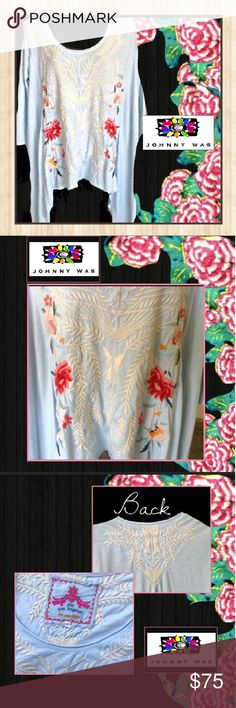 Exquisitely Embroidered Blouse by Johnny Was This blouse is amazing! The embroiderary is exquisite and beyond beautiful! The pictures do no justice! This blouse is perfect for spring and summer. Wear to work with khakis on a Friday, or shorts on the weekend! Will look awesome with jeans as well and some cute wedges! We love the hi-low bottom, this blouse is definitely different and will stand out from the rest! Make it yours today at a fraction of the cost! Johnny Was Tops Blouses