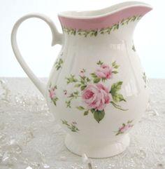 Victorian Pink Rose Milk Jug, like my grandmas Victorian Pitchers, Rose Milk, Rose Cottage, Vintage Dishes, Milk Jug, Carafe, Pink Roses, Pink And Green, Tea Party