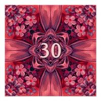 30th Birthday Party Red and Pink Bow and Flowers Invitations  - You can online personalize See more 30th Surprise birthday at: http://www.squidoo.com/surprise-30th-birthday  #surprise #30th #birthday #thirty #invite #invitation #celebrate #announce #custom #customize #personalize #envelope