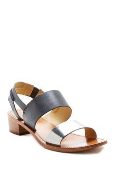 Black and Pewter Leather Sandal