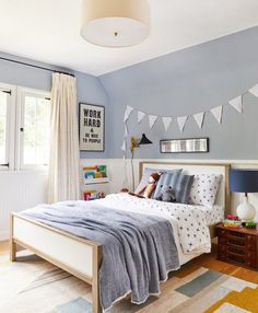 Charlie's Big Boy Room Reveal (Emily Henderson) - Modern Blue Bedroom, Kids Bedroom, Bedroom Decor, Master Bedroom, Curtains For Boys Room, 4 Year Old Boy Bedroom, Boys Bedroom Colors, Funky Bedroom, Bedroom Rugs