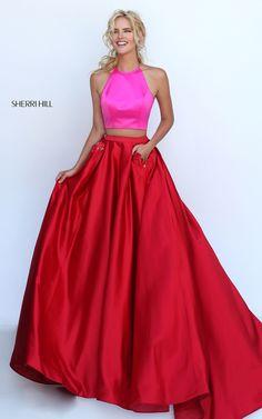 Beaded Sherri Hill 50219 Fuchsia Red Long Two Piece Prom Dress