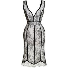 Natasha Zinko Tulip Dress With Lace Overlay ($2,165) ❤ liked on Polyvore featuring dresses, black white dress, white lace cocktail dress, black white cocktail dress, white sleeveless dress en a line dress