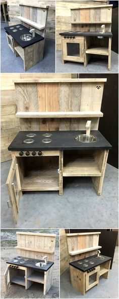 pallets mud kitchen for kids I like the painted shelf for un… - Pallet Furniture Ideas