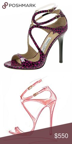 🆕NIB👠Jimmy Choo🆕 Lance Lang Heel Sandals Raspberry pink and black liquid shine patent leather 'Lance' sandals Geometric pattern from Jimmy Choo featuring an open toe, a brand embossed insole, crossover straps to the front, side buckle fastenings, a geometric print, a high stiletto heel.  100% Patent Leather + 100% Leather sole.  *New, never worn!*  Size 38.5 = 8.5/8 U.S.  Retails for $795 + tax!  SOLD 💥 OUT!  No💥Trades Jimmy Choo Shoes Heels