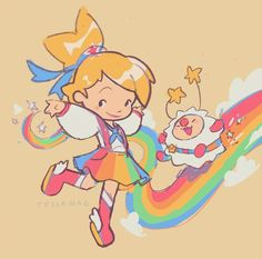 """doodled my take on a rainbow brite redesign! Character Illustration, Illustration Art, Illustrations, Pretty Art, Cute Art, Rainbow Brite, Vintage Cartoon, Cute Creatures, Character Design References"