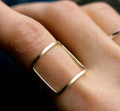 modern square ring gold silver square ring modern by museglass. Just have to figure out my ring size...