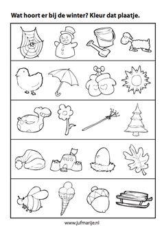 Werkblad sorteren: Wat hoort er bij de winter? pienter kind