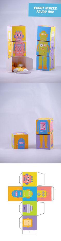 Create your own Robot Blocks Favor Box! Paper Crafts DIY
