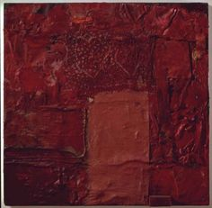 Robert Rauschenberg - 1954, Red Import (Red Painting) Oil, fabric, newspaper, and wood on canvas (45.7 x 45.7 cm)