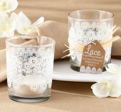 Lace Glass Tealight Candle Holder....I could so do this with the stretchy lace!