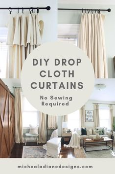 Easy NO SEW drop cloth curtains two ways! #farmhouse #homedecor #diy