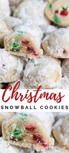 Christmas Snowball Cookies - Crazy for Crust - Christmas Snowball Cookies Christmas Snowball Cookies are my mom's recipe full of red and green M&Ms! This easy cookie recipe is perfect for the holidays and can be made with any color candy! Snowball Cookies, Holiday Cookies, Holiday Treats, Holiday Recipes, Christmas Baking Ideas Cookies, Christmas Dessert Recipes, Fun Holiday Desserts, Cute Christmas Cookies, Cookies
