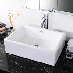 Rectangle Bathroom Porcelain Vessel Sink White Ceramic Basin + Free Drain