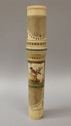 Needle Case  Place of Origin: England or United States, United Kingdom or United States, Europe or North America  Date: 1860-1910  Materials: Bone; Fabric; Paint