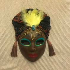 Venetian mask, feathered mask, african american mask, african decor, african queen, african american woman, african head wrap by EthnicDrops on Etsy https://www.etsy.com/listing/501058992/venetian-mask-feathered-mask-african