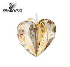 Swarovski Amber Crystal Christmas Ornament HEART GOLDEN SHADOW 3D #1140006