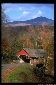 Covered Bridge in New England in the fall. - - Covered Bridge in New England in the fall. Love Bridge, Old Bridges, New England States, New England Fall, Jolie Photo, Old Barns, Covered Bridges, Beautiful Landscapes, Places To See