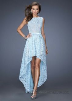 Powder Blue High Neck Lace High Low  Dress