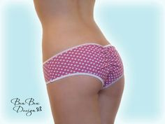 Pink and white polka dot hot pant panties briefs by BeuBeuDesign